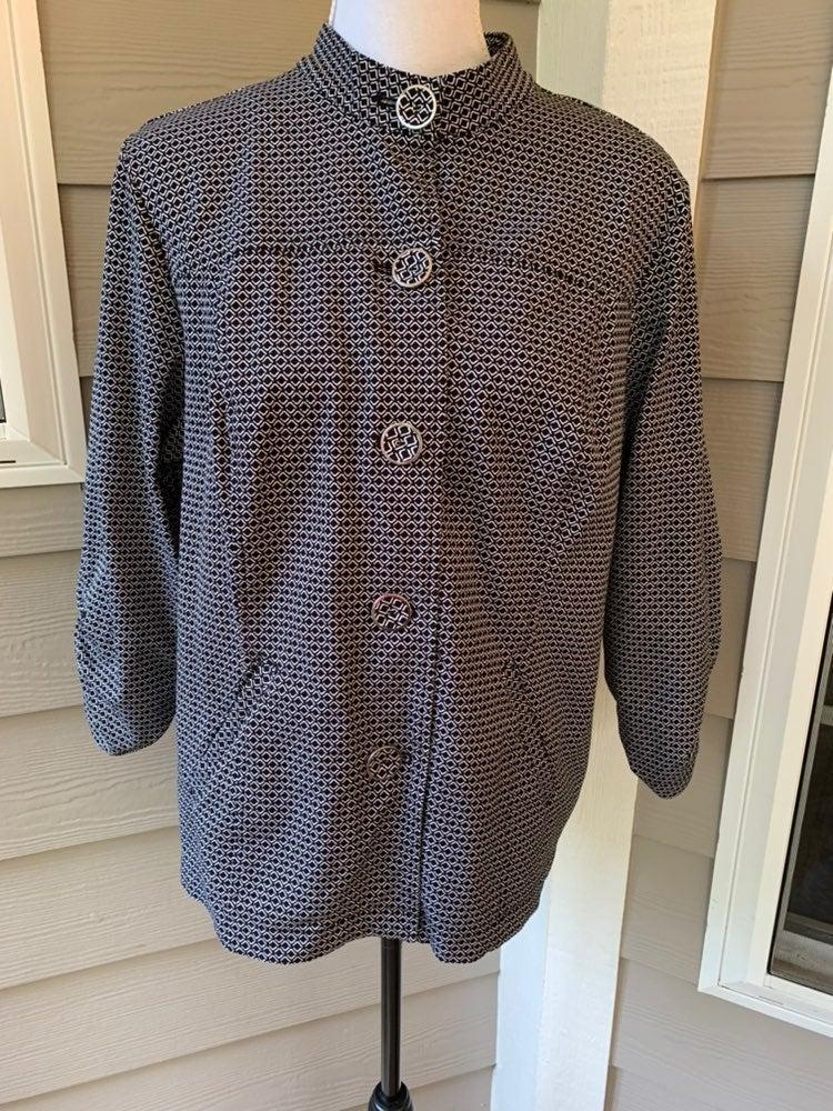 Chicos 2 Jacket Cotton Stretch Button L