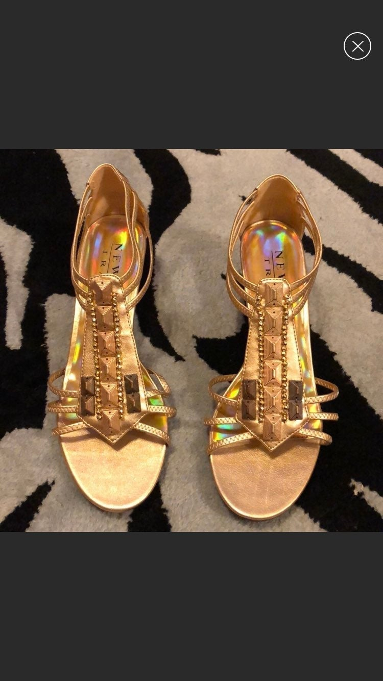 New York Transit Gold Wedge Sandal