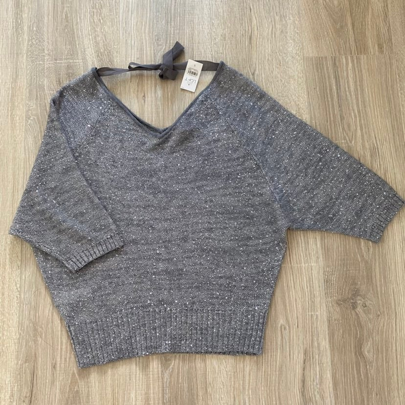 Loft Metallic Sequin Knit V-neck Top S