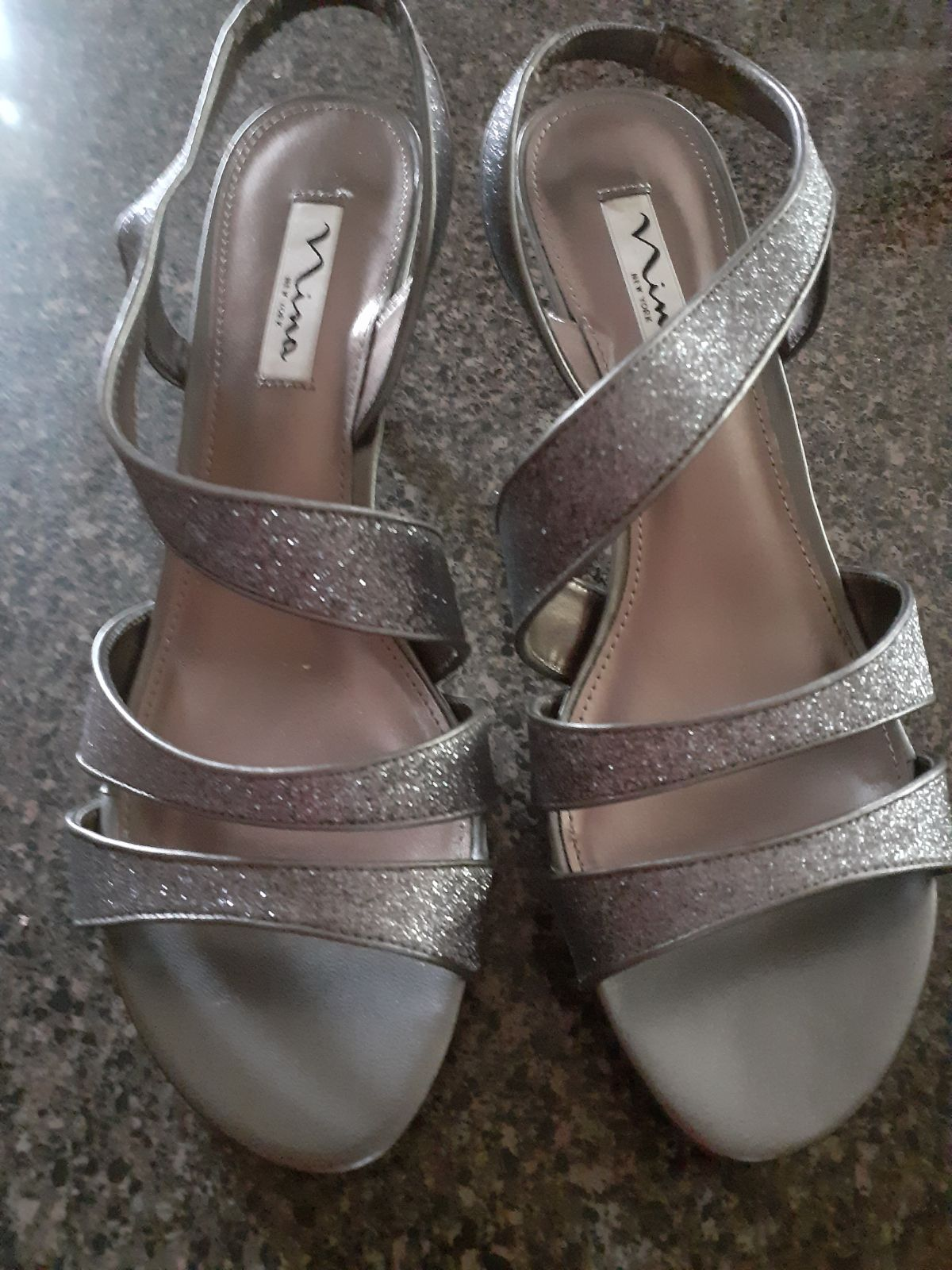 Gray Sparkle evening sandals