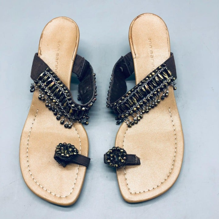 ann marino sandals open toed beaded embellished 1.5 heel size 8.5 brown gently u