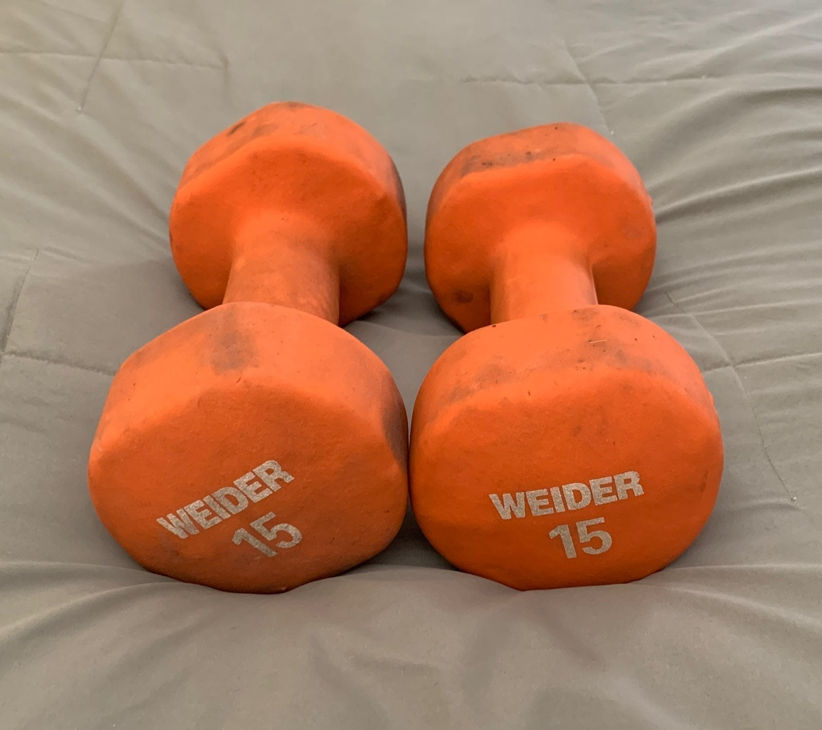 15lbs Dumbbells Set of 2 Weider Orange