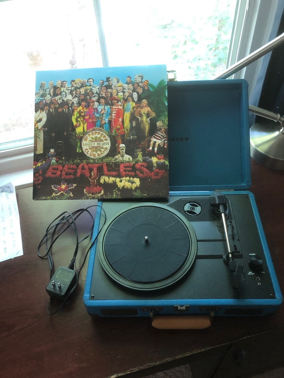 crosley record player and sgt peppers lo