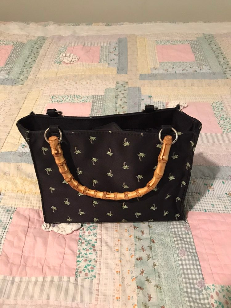 Vintage Bamboo and Satin Purse