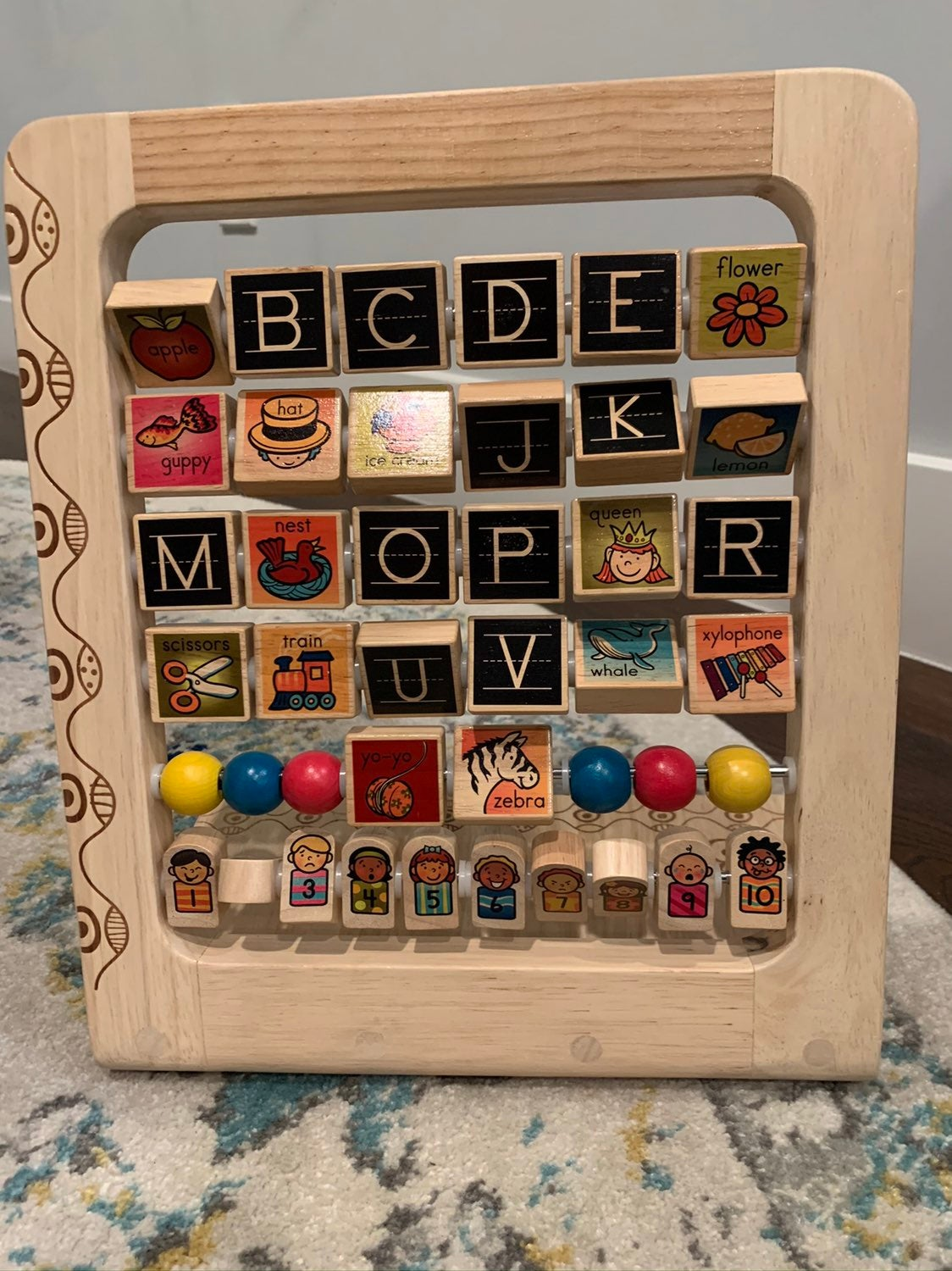 Wooden letters and numbers toy