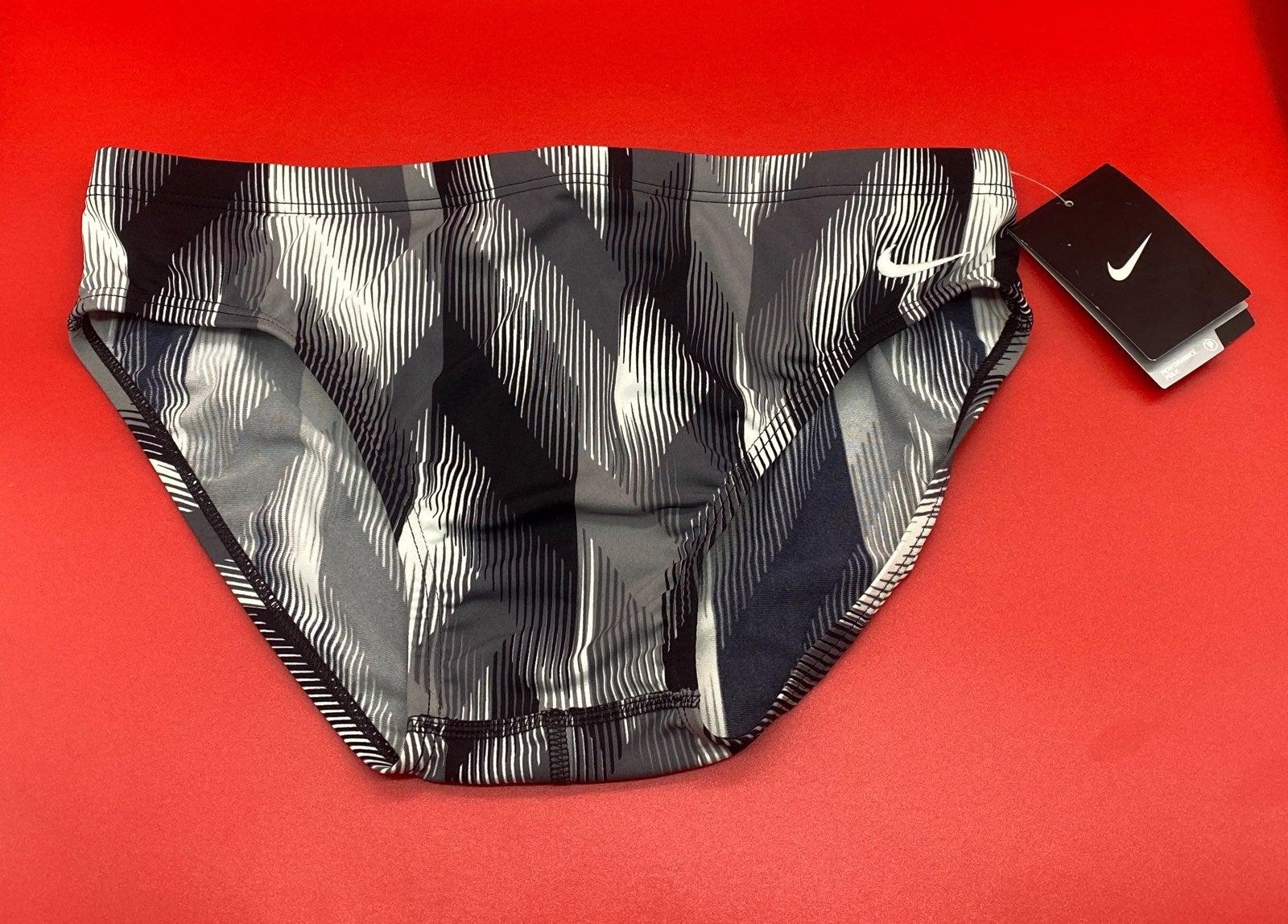 Nike swim brief sz 34 black/gray/white