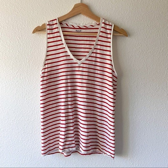 Madewell Red & White V-neck Stripe Tank