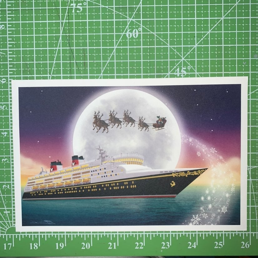 Disney Cruise Ship and Santa's Sled Art
