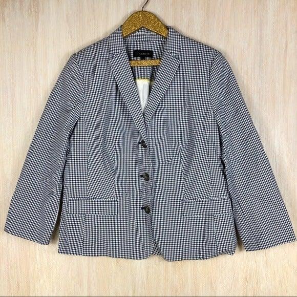 Talbots White & Blue Plaid Blazer Jacket