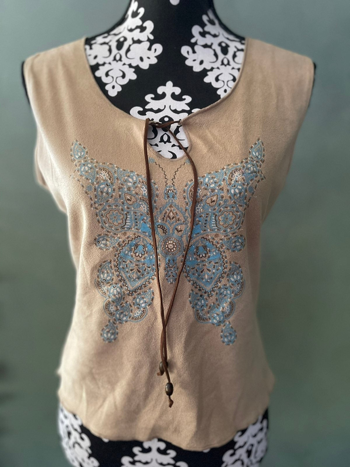 NEW Faux Suede Tank With Butterfly Large