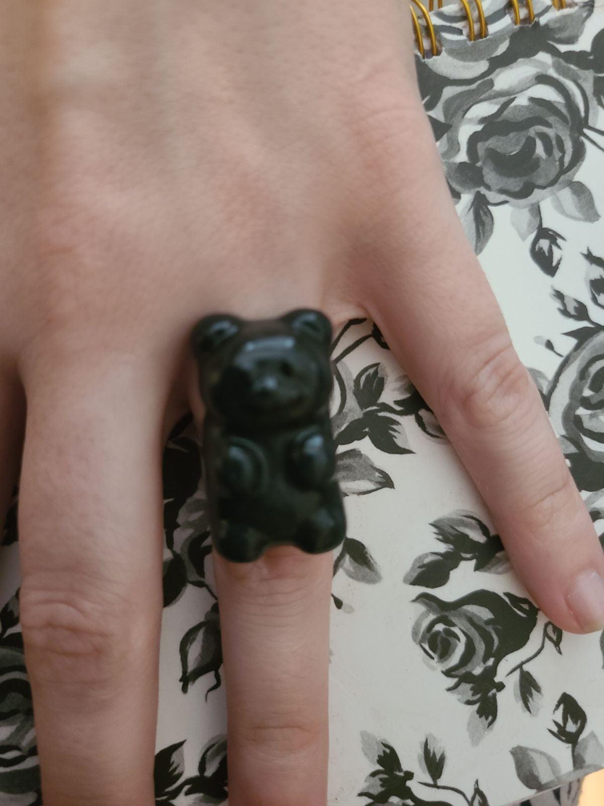 Black gummy bear inspired ring