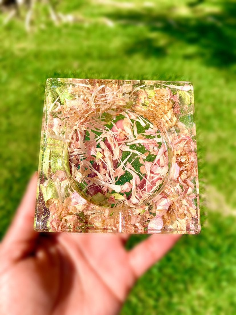 Handmade Glitter Rose Petal Ashtray/Jewe