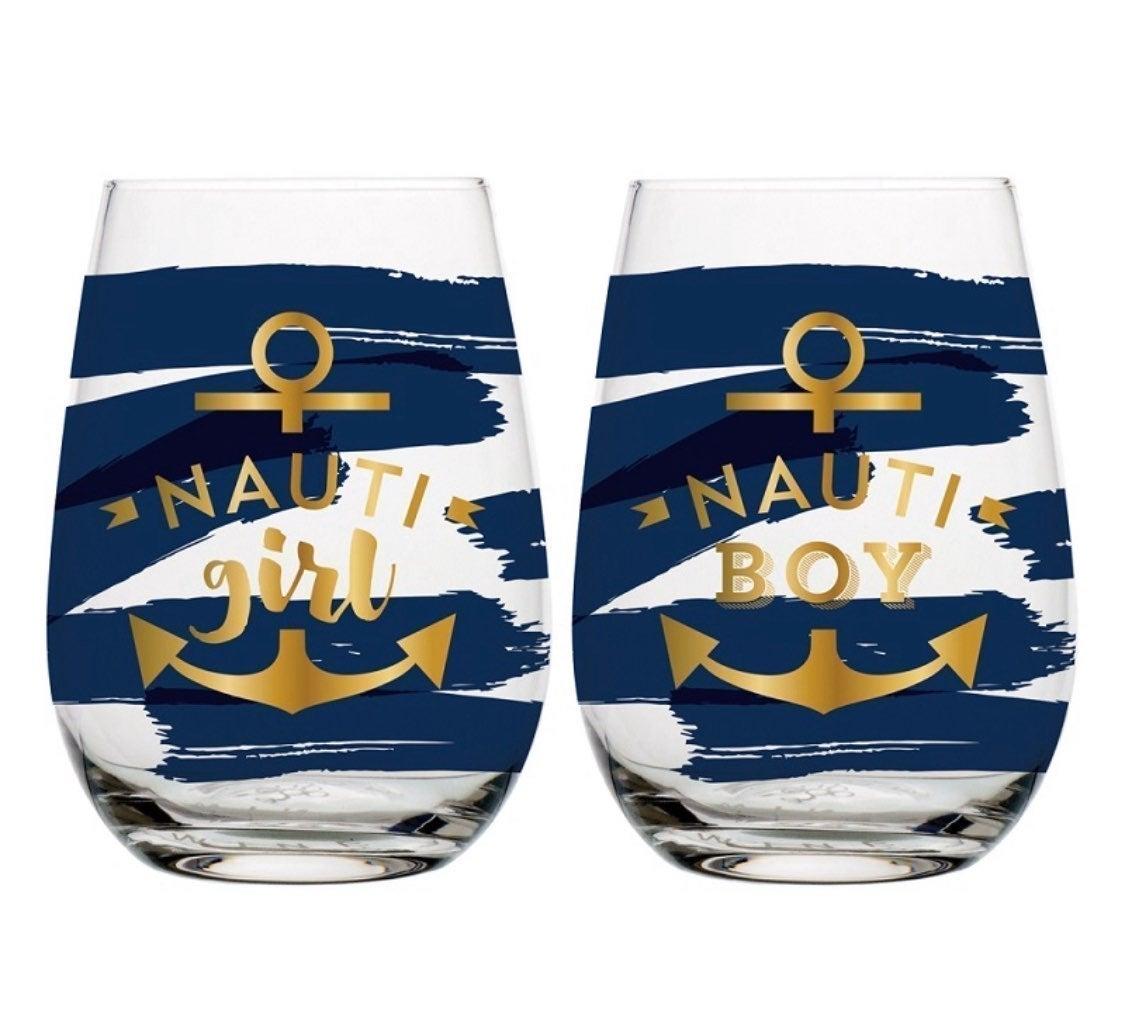 NEW! Wine Glass Set - Nauti Girl & Boy