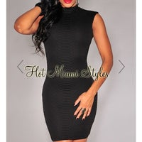 554a60e55f Black Textured Python Mock Neck Dress