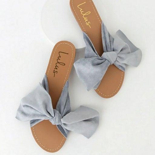 Lulus Blue Suede Bow Slide Sandals