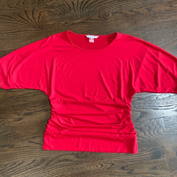 Peter Nygard Red Ruched/Dolman Top L