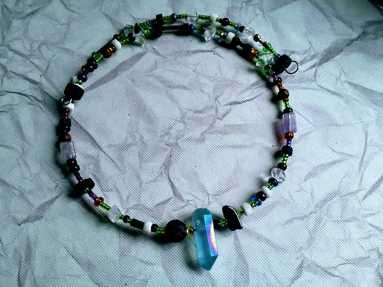 Blue Crystal beaded Necklace choker