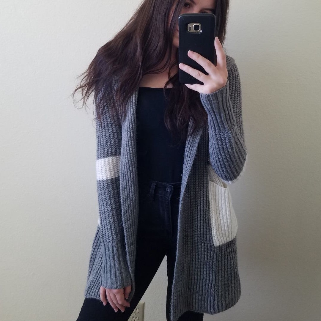 Gray and white colorblock long cardigan