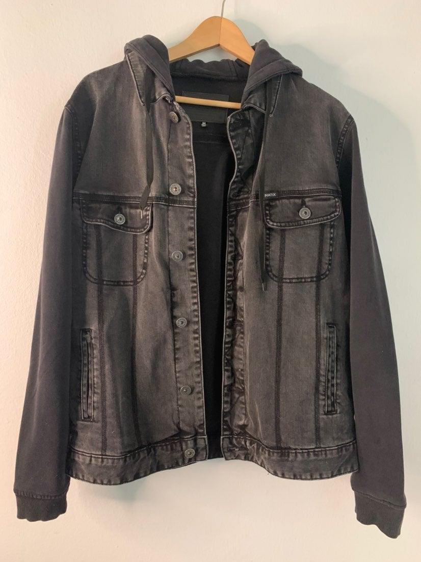 Light washed Black Jean Jacket with Hood