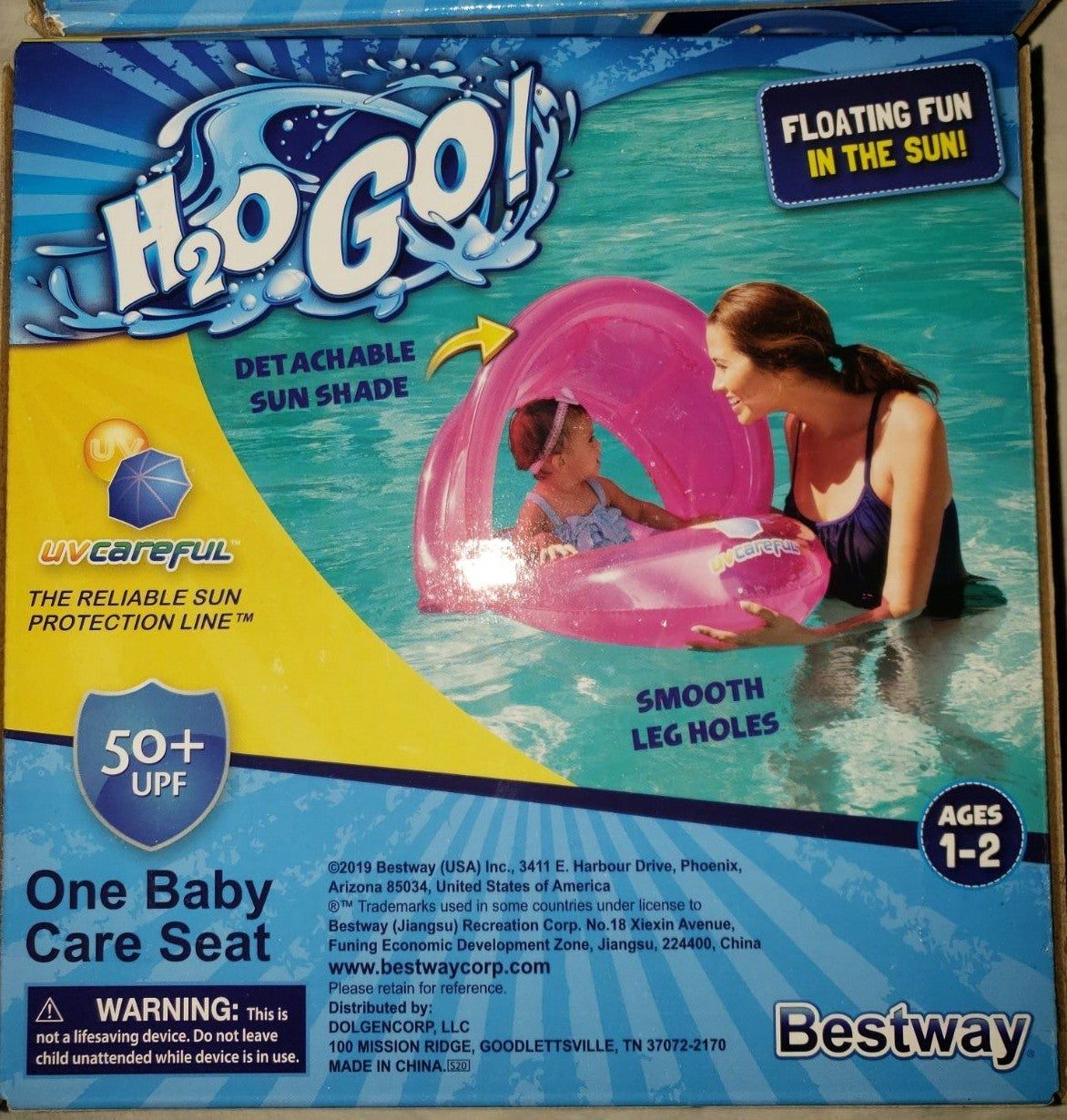 Baby float with cover from sun blue/pink