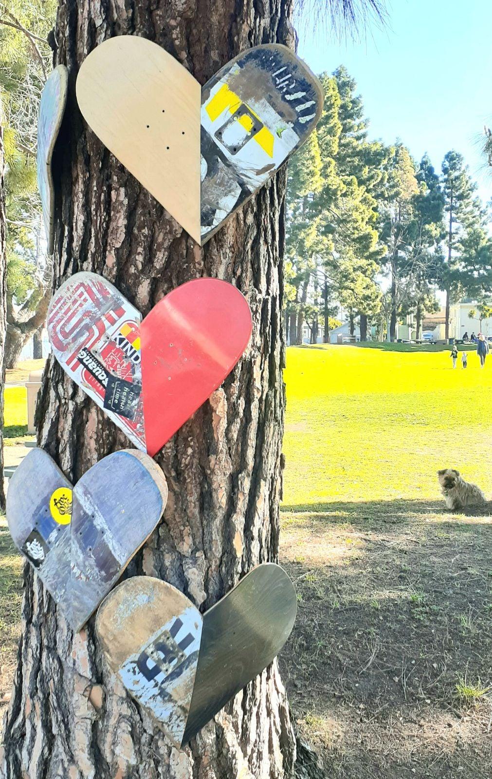 Skateboard hearts art