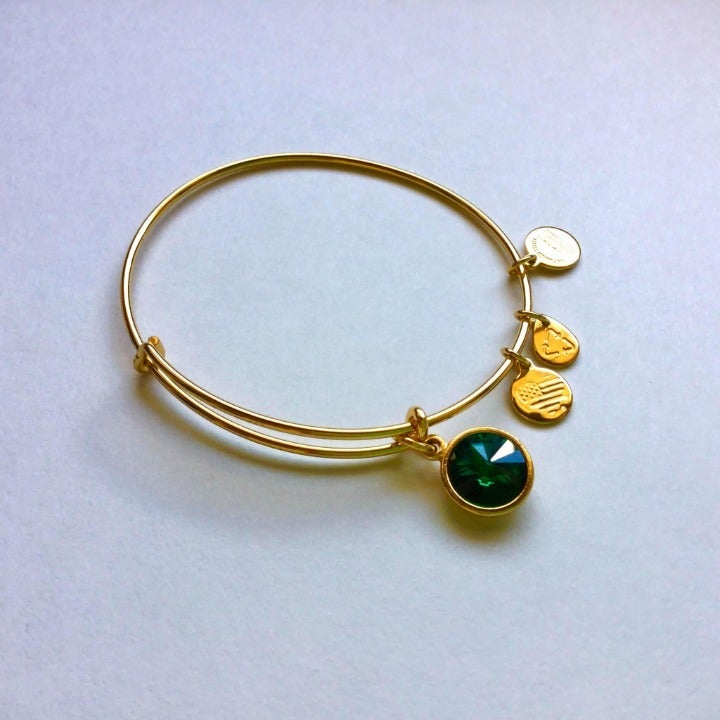 Alex and Ani Emerald May Gold Bangle