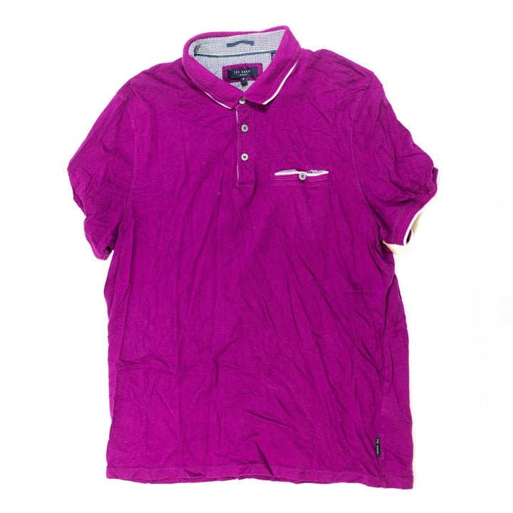 Ted Baker Cotton Solid Purple Polo Shirt