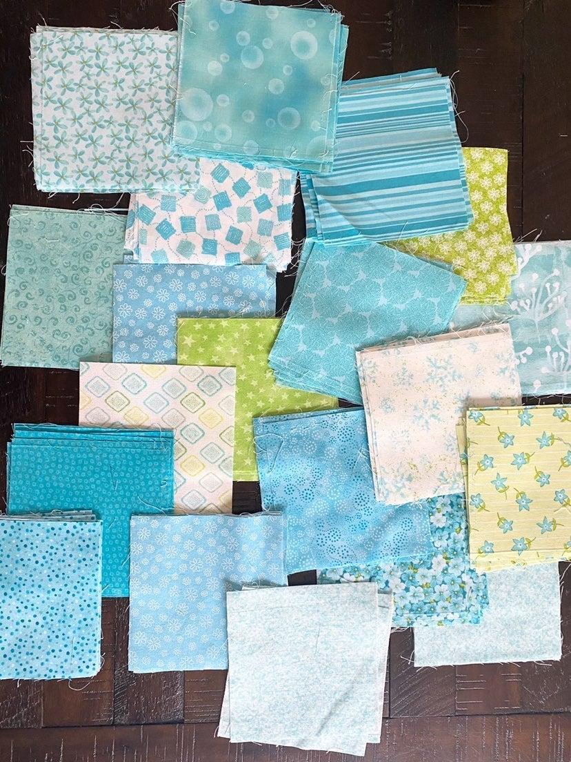 Aqua Fabric Squares