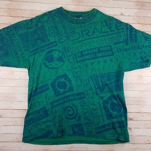 VTG 90s Oracle All Over Print Tee Shirt
