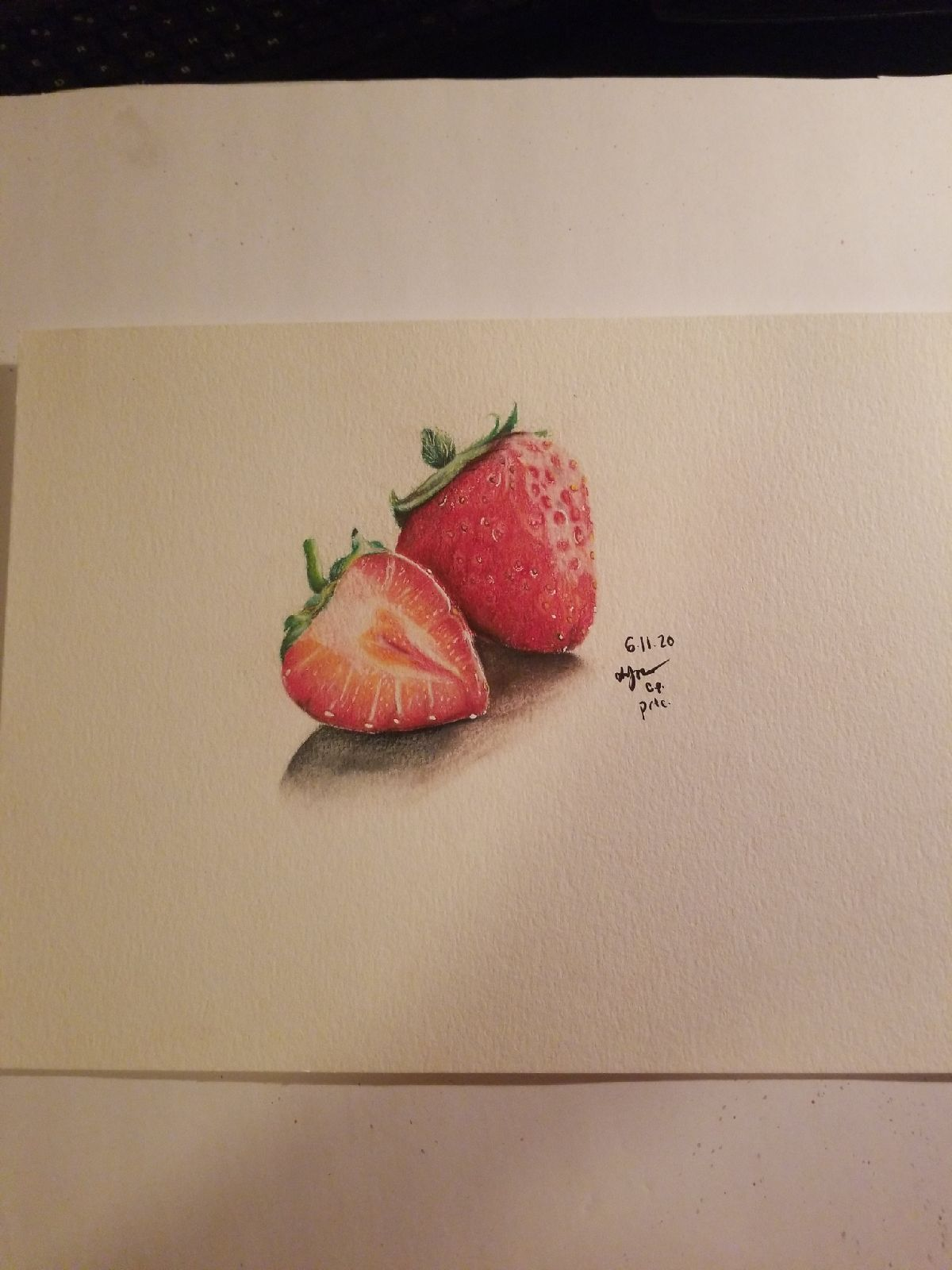 Strawberry Prismacolor Pencil art 9×12