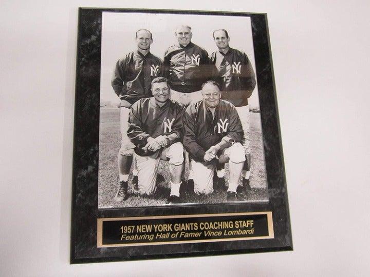 1957 NY Giants NFL Coaches 8x10 Plaque