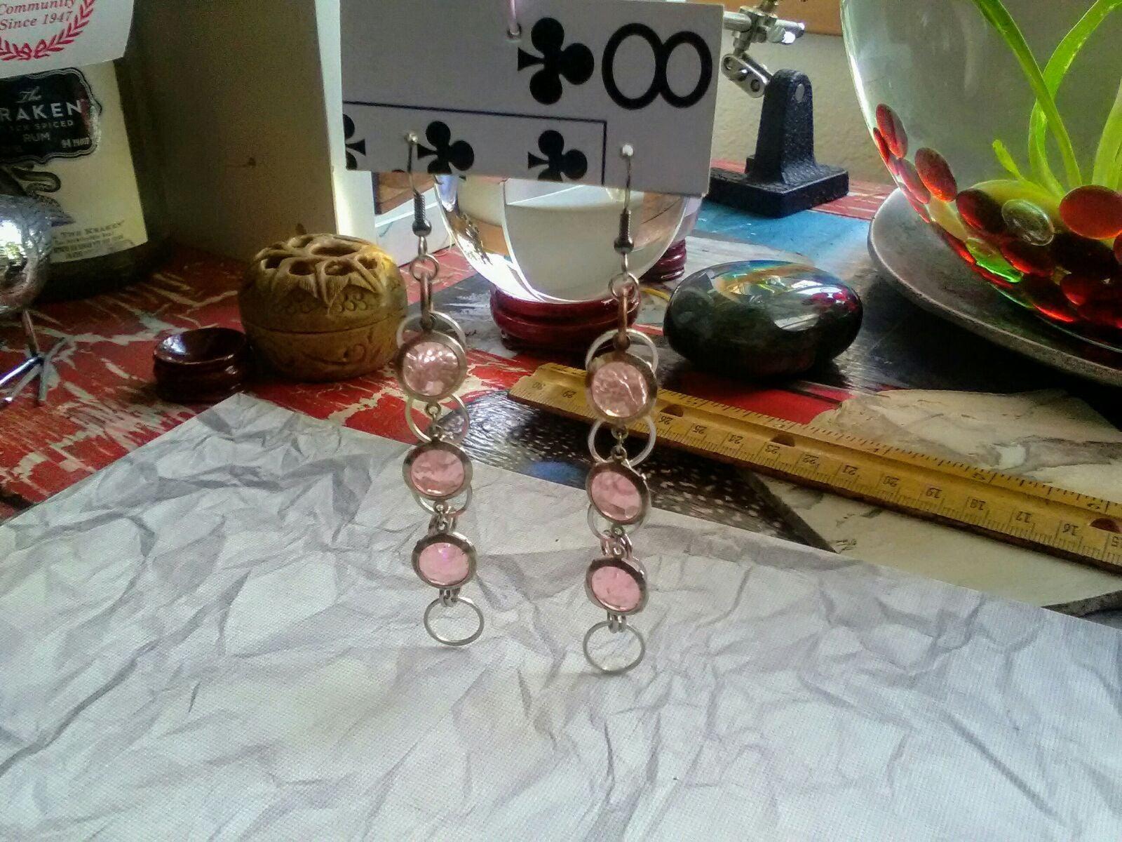 Pink Charm & Chain Dangle Earrings