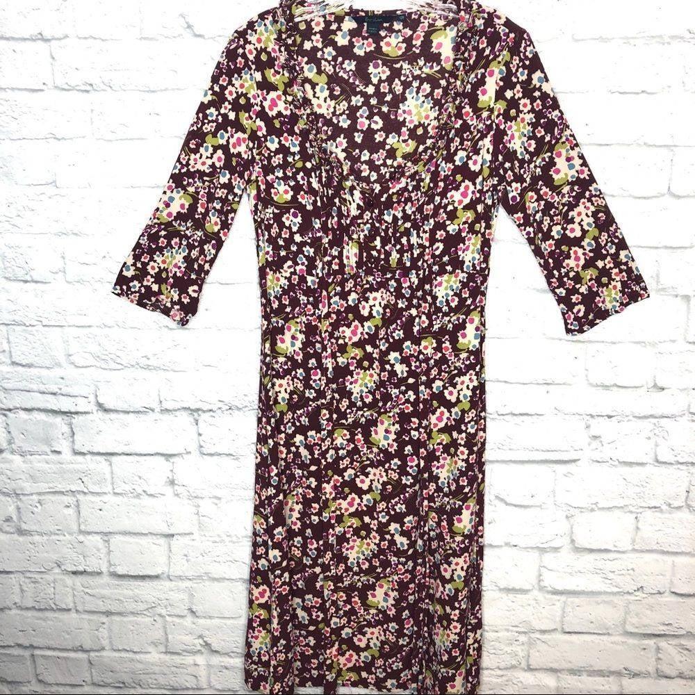 Boden Burgundy Floral Midi Dress