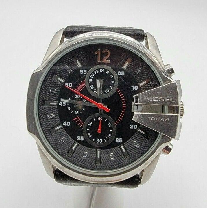 Men's Diesel Chronograph Calendar Watch DZ-4182 Black Dial Stainless Leather