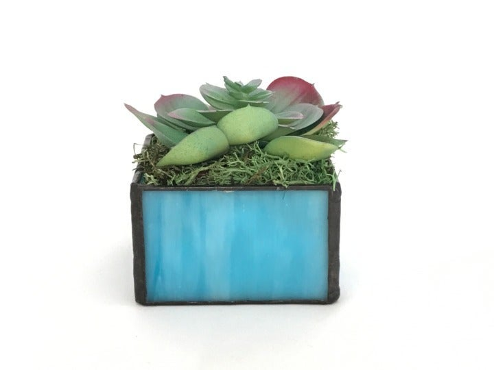 Stained Glass Planter & Faux Succulent