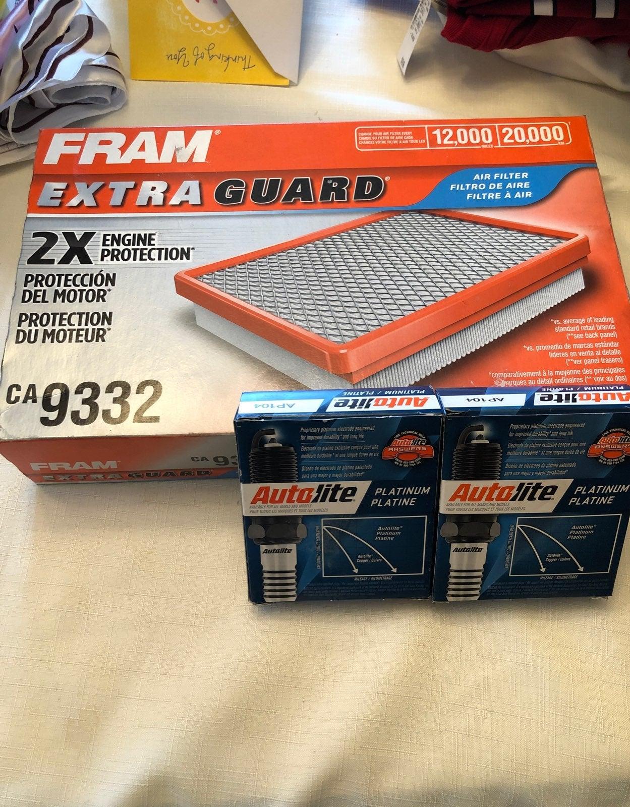 Car parts - spark plugs & Fram filter