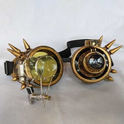 Gold Spiked Mad Scientist Steampunk Goggles w/LED
