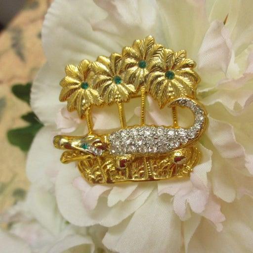 Alligator Palm Trees Crystal Rhinestone Gold Plate Designer Brooch