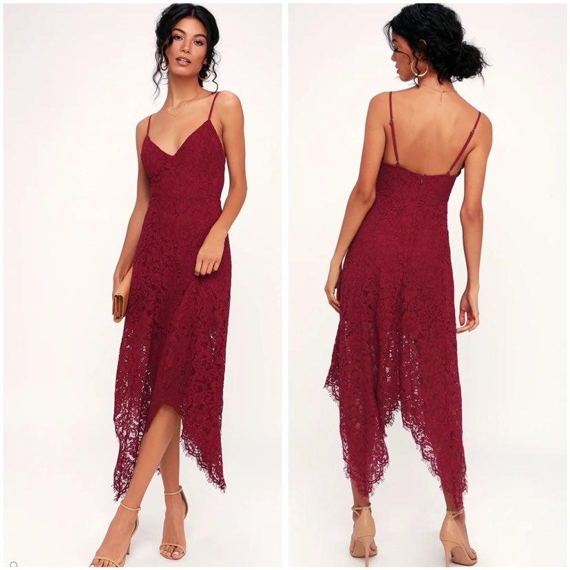 Lulu's One Wish Burgundy Lace Midi Dress