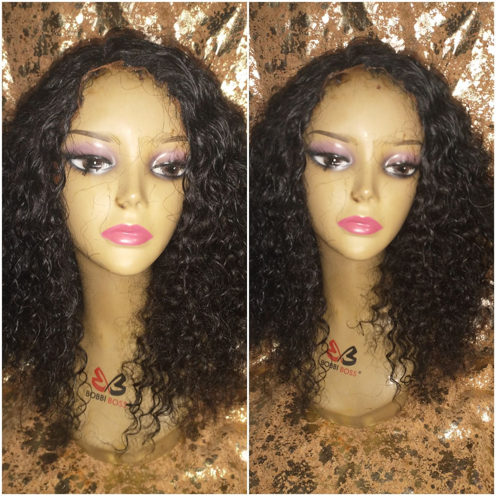 "16"" Bohemian virgin curly human hair wig"