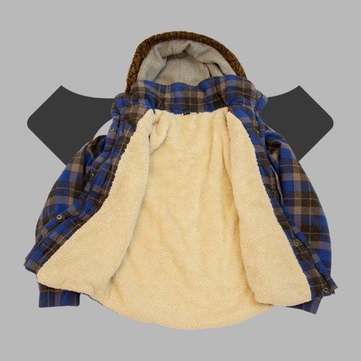 ROXY Faux Fur Plaid Hooded Jacket
