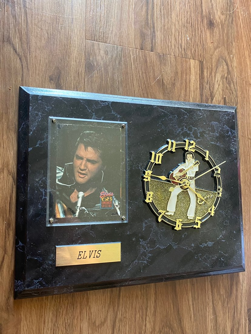Elvis Presley Clock Card and Plaque