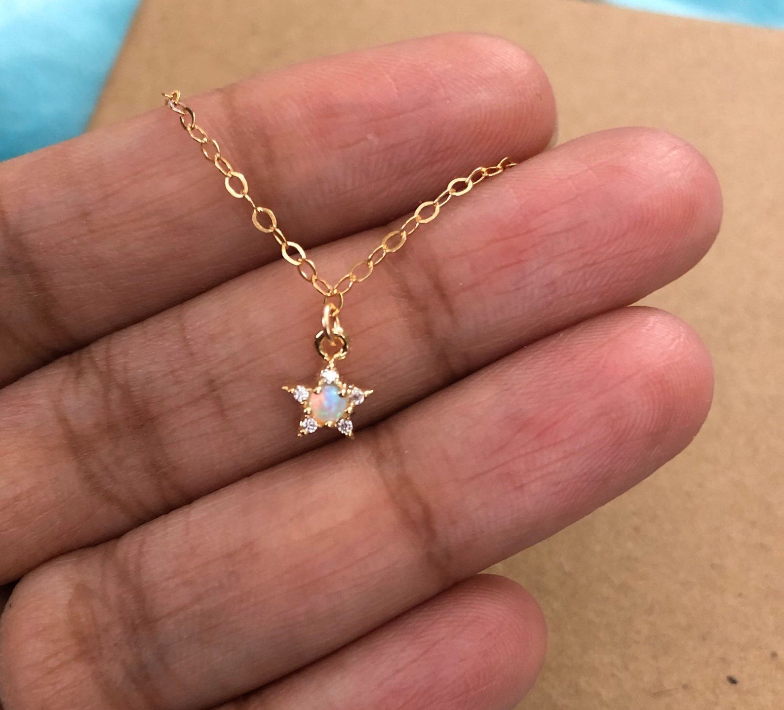 14k Yellow Gold Opal Star Necklace