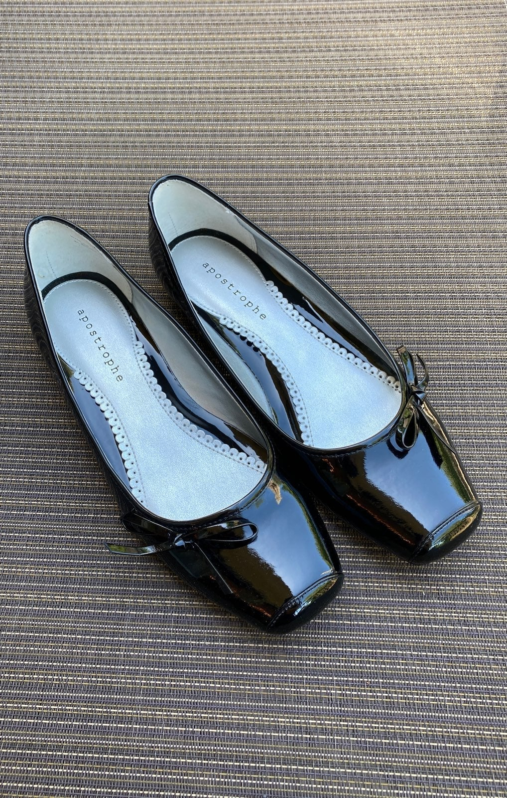 Black Pantent Leather Flats by Apostroph