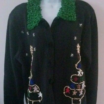 BEREK Boho Xmas Tree Cardigan Sweater XL