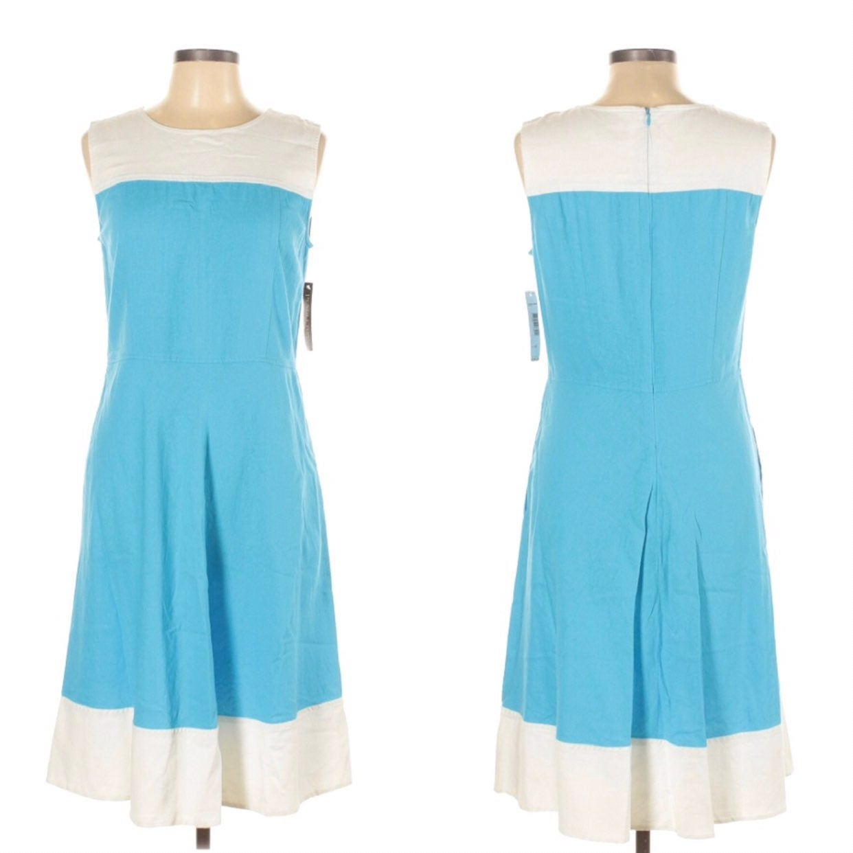 Pendleton Blue Linen Modest Midi Dress