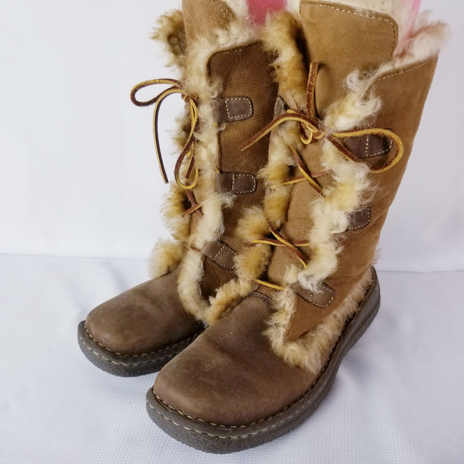 Born suede leather fur lined boots