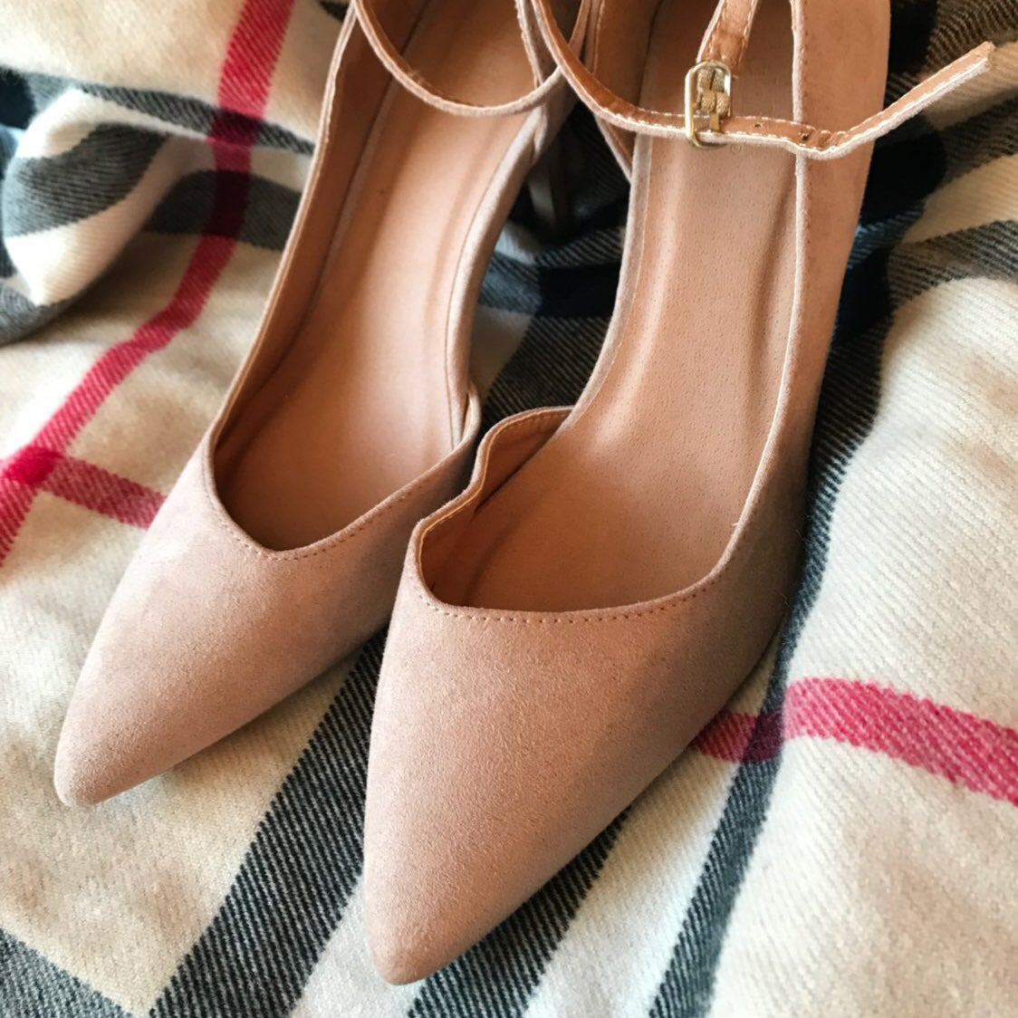 Faux Suede D'orsay Ankle Strap Heels