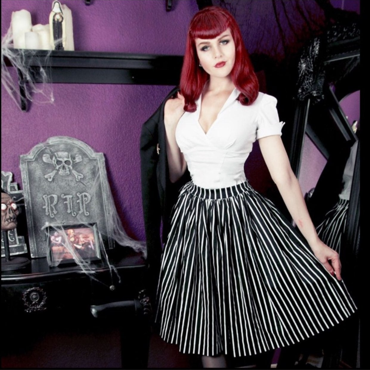 Pinup Couture Rockabilly Stripped Skirt