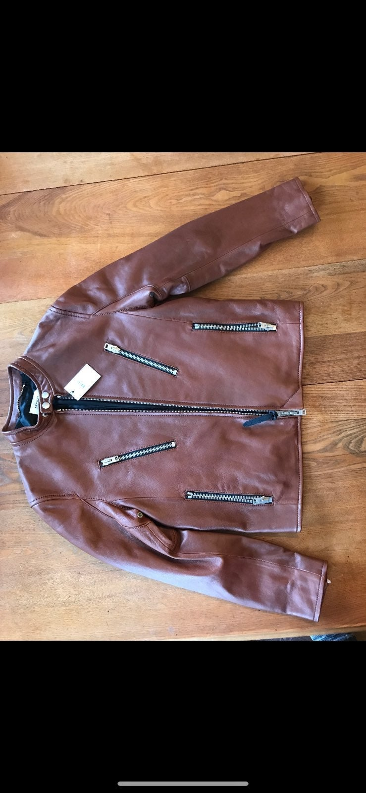 COACH Fawn Brown Leather Jacket size 50